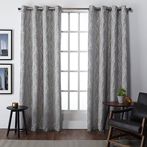 Exclusive Home Finesse Faux Linen Grommet Top Window Curtain Panels 54″ X 108″, Ash Grey, Set of 2 / PAIR