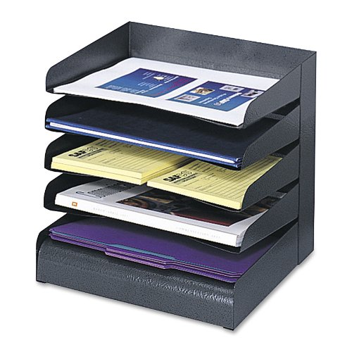 Safco Products 3127BL Steel Desk Organizer Tray Sorter with 5 Shelves, Black ()