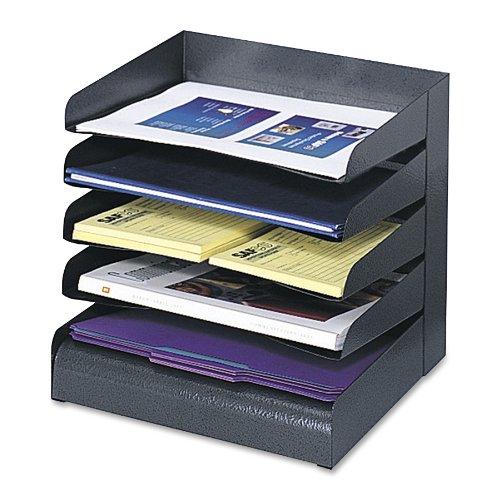 Safco Steel Desk Tray Sorter, 5 Shelf, Black, 3127BL