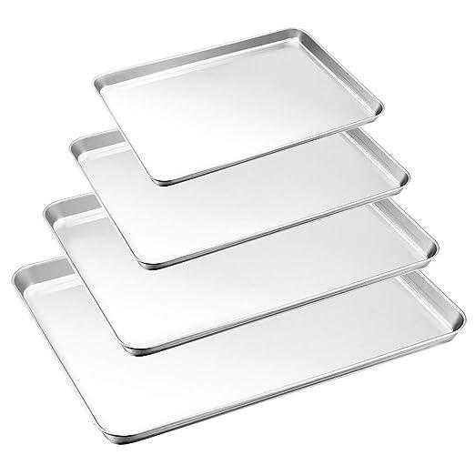 HaWare - Juego de 4 bandejas de horno de acero inoxidable con ...