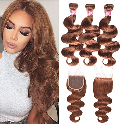 Brazilian Body Wave Human Hair 3 Bundles 10 1010 with 10inch Lace Frontal Closure Unprocessed Virgin Hair Weaves with 4x4 Free Part Closure #30 Light Auburn Brown Color
