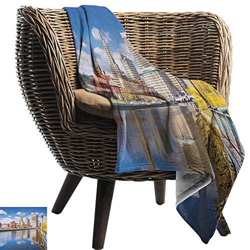 AndyTours Ultra Soft Flannel Blanket,United States,Providence Rhode Island Riverfront Spring Season Water Reflection Buildings, Multicolor,Lightweight Microfiber,All Season for Couch or Bed 70