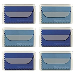 "MightyMicroCloth Premium Microfiber Cleaning Cloths – (6 pack) each in a Travel Pouch for Eyeglasses, Computer Screens, Glasses, Lens, iPads, iPhones, Cameras, LCD TV – 7"" x 6"" (3 Royal, 3 Sky Blue)"