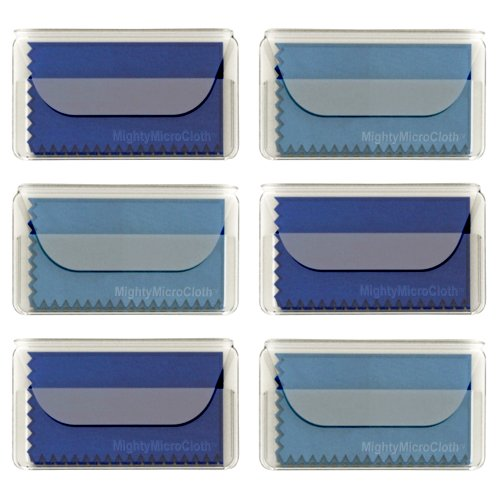 "MightyMicroCloth Microfiber Eyeglass Cleaning Cloths - Vinyl Travel Pouch - Lens Cleaner for Glasses, Camera Lenses, Tablets, Phone Screens, & Electronics - 6 Pack Royal/Blue (6""x7"")"