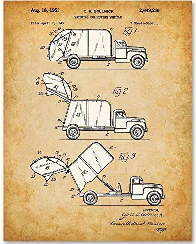 Garbage Truck - 11x14 Unframed Patent Print - Makes a Great Gift Under $15 for for Boy's Room