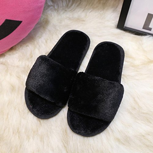 US Women's 5 Sale Sandals Flat Flip Beach Flops Coromose Shoes Slippers Black Fluffy Summer Faux 5 8 Fur Hot x6w1qaw