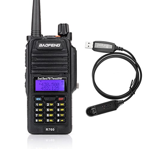 Baofeng R760 Waterproof IP57 136-174/ 400-520MHZ Dual Band Ham Two-way radio Walkie Talkie Transceiver with Programming Cable (Ham Radio Base Station Kit)