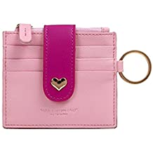 Girls Leather Peach Heart Thin Wallet Card Zipper Wallets with Key Chain