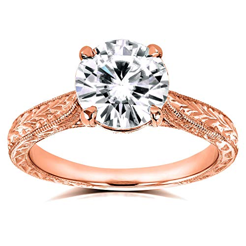 (Antique Style Moissanite Engagement Ring 1 1/2 Carat (ctw) in 14k Rose Gold, Size 5.5, Rose Gold)