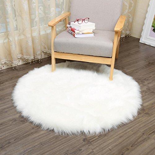 CHITONE Round Faux Fur Sheepskin Rugs, Soft Shaggy Area Rug Home Decorative Bedroom Fluffy Carpet Rug, Diameter 2 Feet, White