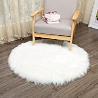CHITONE Round Faux Fur Sheepskin Rugs, Soft Shaggy Area Rug Home Decorative Bedroom Fluffy Carpet Rug, Diameter 3 Feet, White
