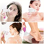Face Cleansing Brush - Waterproof Facial Brush, Electric Facial Exfoliator with 4 Brush Heads for Face & Body Deep Cleansing, Skin Care Massage, Gentle Exfoliating, Blackhead Removing - Rose Red