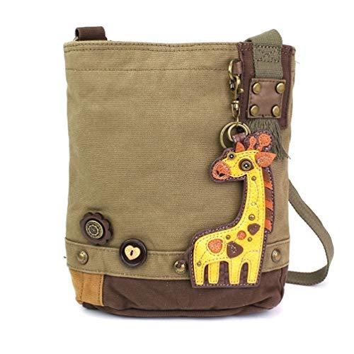 (Chala Patch Cross-Body Women Handbag, Olive Canvas Messenger Bag (Giraffe Olive))