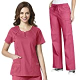 WonderFlex Women's Heaven Fashion Zip Scrub Top & Faith Multi-Pocket Cargo Pant Scrub Set [XXS - 3XL]+ FREE GIFT
