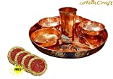 AsiaCraft Indian Dinnerware Pure Copper Traditional Dinner Set of Thali Plate, Bowls, Glass and Spoon, Diameter 12 Inch - Diwali Gifts for Corporates