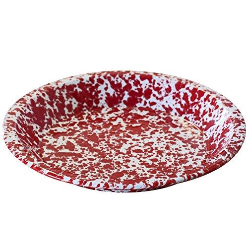 Enamelware Pie Plate - Red Marble