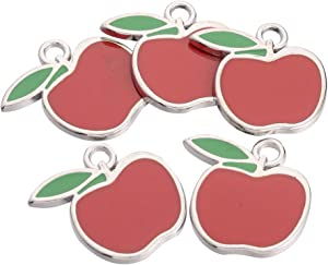 PH PandaHall About 100 Pieces Platinum Plated Apple Alloy Enamel Pendant Charms for Necklaces Bracelets Jewelry Making