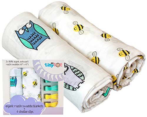 Have Bee Swaddle (Organic Cotton Muslin Owl & Bee Swaddle Blanket | Ultra Soft | For Boys or Girls)