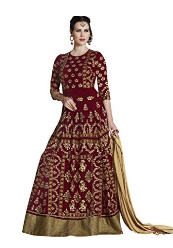 Crazy Bachat Women Georgette Ethnic Stylist Dress Salwar kameez Rust (Rust Salwar)