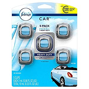 Febreze Car Air Freshener, Set of 5 Clips, Linen & Sky - up to 150 Days