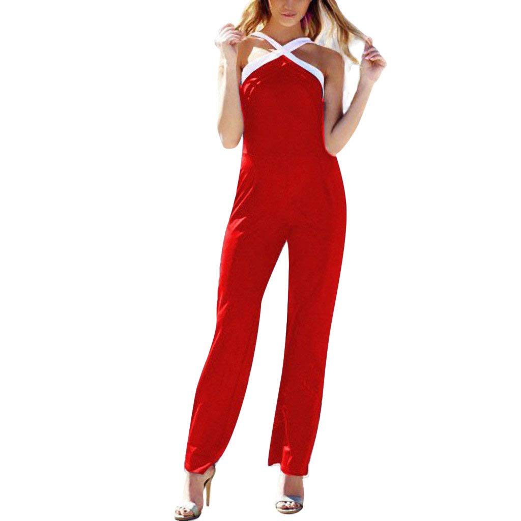 Women Contrast Jumpsuit Sexy Criss Cross Halter V Neck Sleeveless Backless Long Wide Leg Palazzo Pant Party Rompers (Red, S)