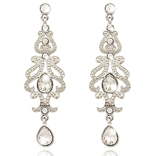 Q&Q Fashion Art Deco 1920s 30s Accessory Flapper Costume Austria Crystal Bridal Silver Dangle Earrings