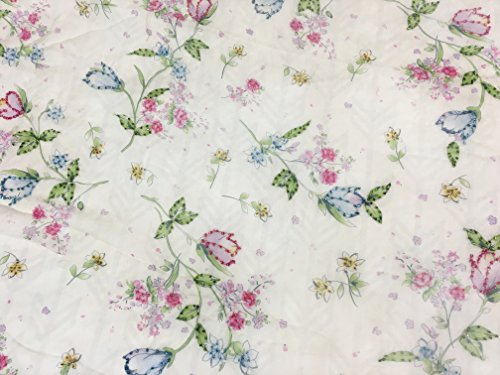 100% Sheer Silk Chiffon Beaded Vintage Floral Print 42in wide Fabric by the Yard
