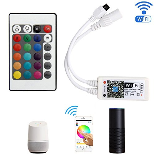 SUPERNIGHT WiFi Wireless LED Smart Controller Working with Android and iOS System Mobile Phone Free App for RGB LED Light Strips 5050 3528 LEDs 5V to 28V DC 4A Comes with One 24 Keys Remote Control