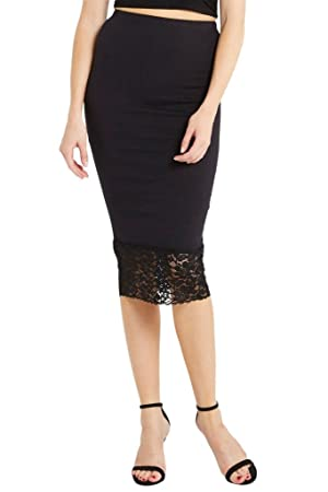 Women's Fashion Trendy Jersey Knit Lace Trim High Waisted Bodycon Midi Skirt USA BK L