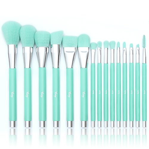 Teal Makeup (Qivange Makeup Brush Set, Synthetic Powder Eyeshadow Blending Brushes with Gift Box(Teal, 15)