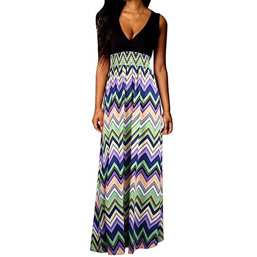iLUGU V Neck Sleeveless Maxi Dress for Women Boho Circle Print Empire Line Gothic Dress