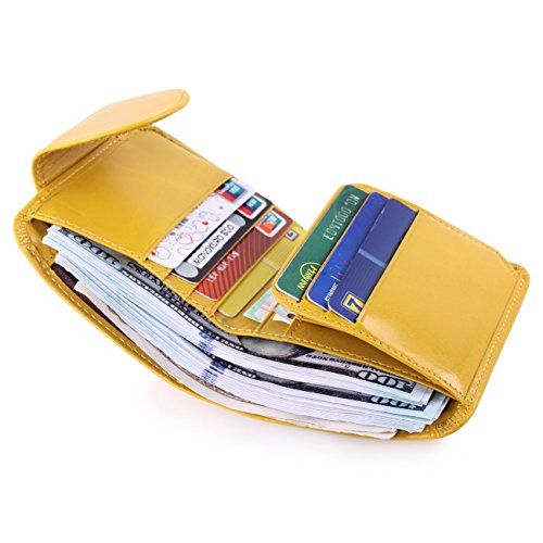 Yafeige Women's Small Compact Wax Genuine Leather Tri-Fold Wallet with Zipper Pocket(Yellow)