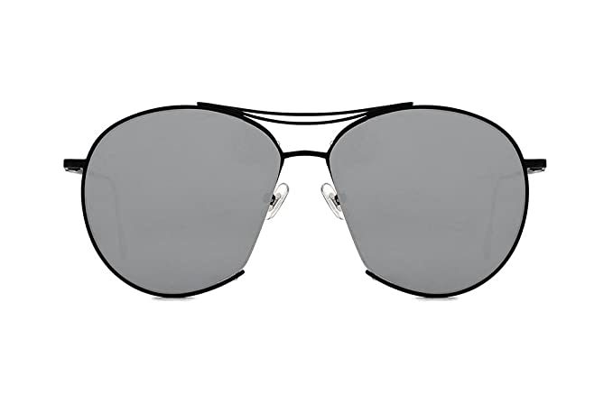 a8db72a9064 SojoS Round Aviator Mirrored Flat Light Color Drive Lenses Unisex Sunglasses  SJ1020 With Black Frame