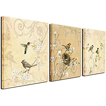 Amazon.com: SpecialArt HIGH-END FRAME Wall Art - 4pcs Birds on the ...