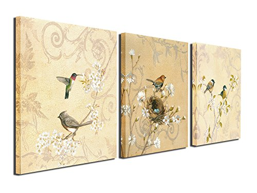 Birds Canvas Prints Wall Art Pictures Abstract Flowers Paintings Artworks for Living Room Bedroom Office Decoration, 12x12 inch, Framed (Sale Framed For Bird Prints)