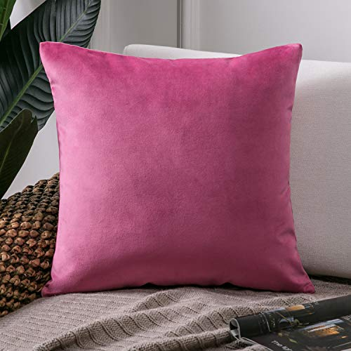 Phantoscope Velvet Decorative Throw Pillow Covers Soft Solid Square Cushion Case for Couch Pink 18 x 18 inches 45 x 45 cm (Magenta Pillows Throw)