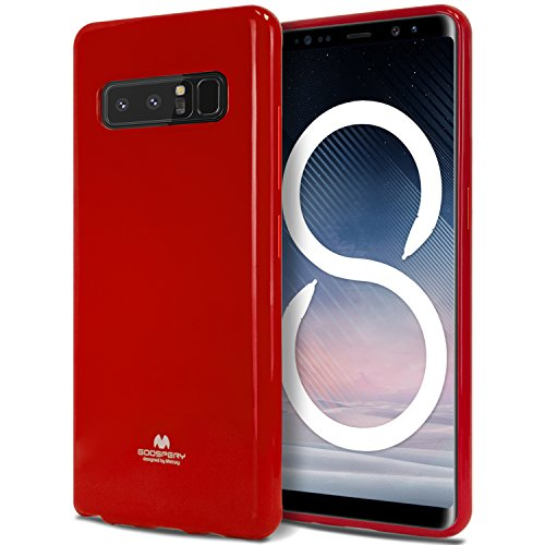 Galaxy Note 8 Case, [Thin Slim] GOOSPERY [Flexible] Pearl Jelly Rubber TPU Case [Lightweight] Bumper Cover [Impact Resistant] for Samsung Galaxy Note 8 (RED) NT8-JEL-RED