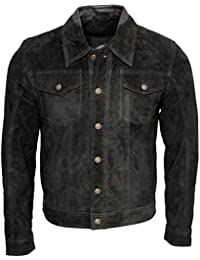 Men's Trucker Casual Black Goat Suede Leather Shirt Jeans Jacke