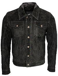 Men's Trucker Casual Black Goat Suede Leather Shirt Jeans Jacke