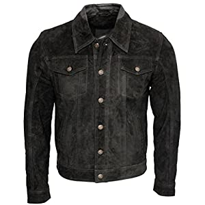 Infinity Men's Trucker Casual Black Goat Suede Leather Shirt Jeans Jacke