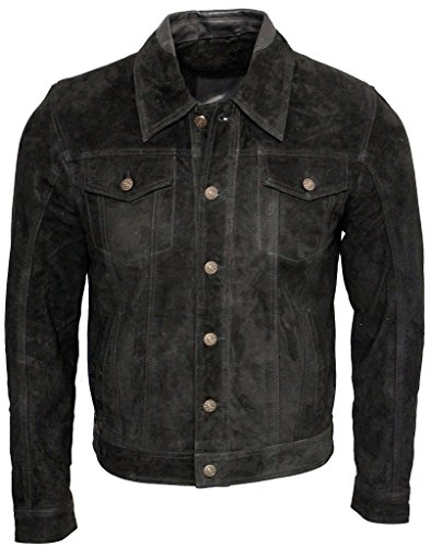 Men's Trucker Casual Black Goat Suede Leather Shirt Jeans Jacket L (Goat Suede)