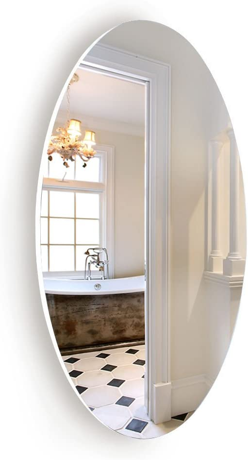 """Facilehome Oval Wall Mounted Mirror Dressing Mirror Frameless,Bedroom or Bathroom Mirror,Horizontal or Vertical(25.1"""" x 14.8"""" x 0.79"""")"""