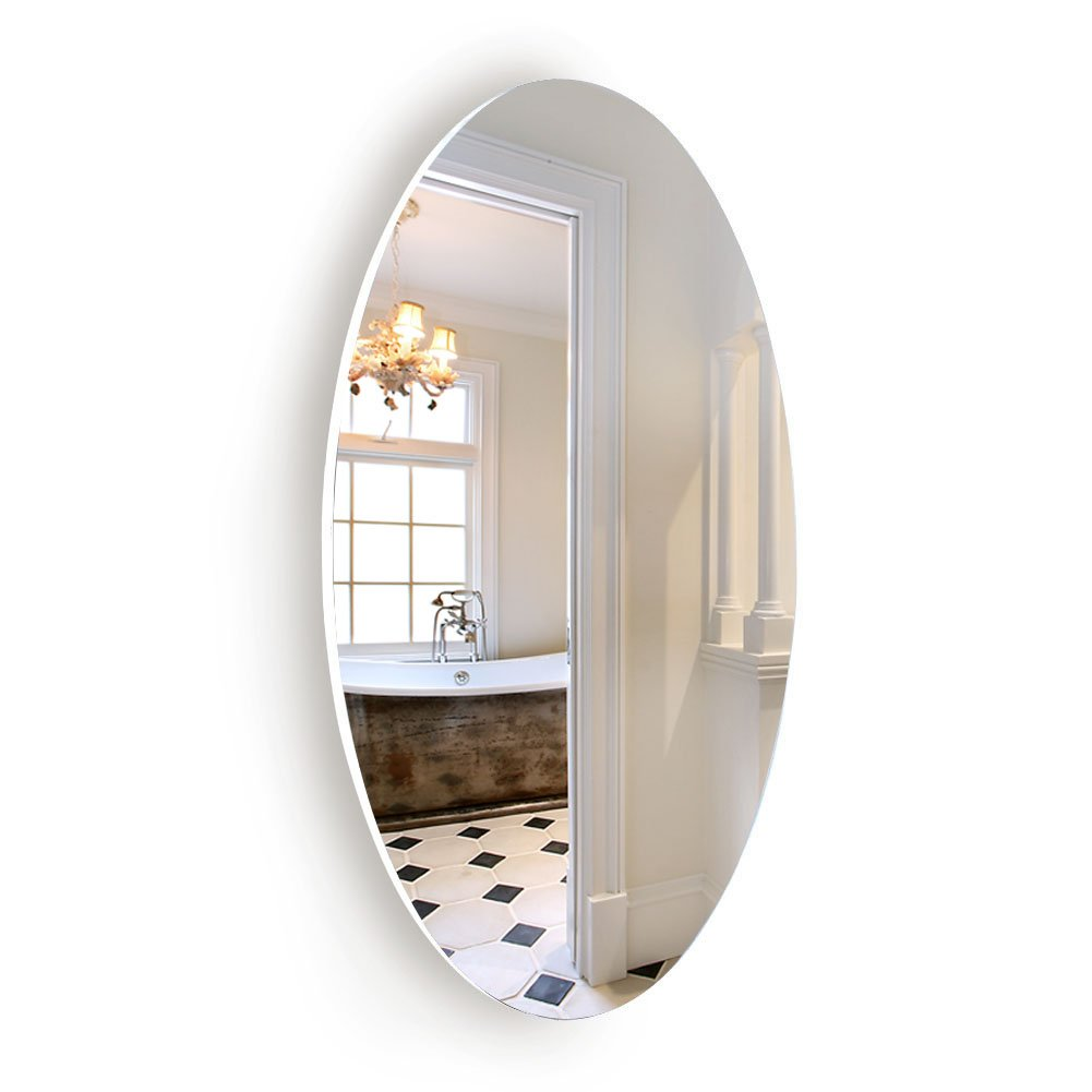 Facilehome Oval Wall Mounted Mirror Dressing Mirror Frameless,Bedroom or Bathroom Mirror,Horizontal or Vertical(25.1'' x 14.8'')