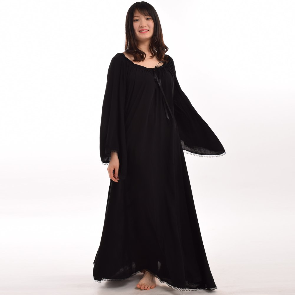 Medieval Women's Black Lace Trimmed Bell Sleeve Chemise - DeluxeAdultCostumes.com