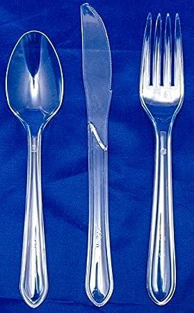 Thali Outlet® - Cubertería transparente + servilleta azul marino de 33 cm (100 x