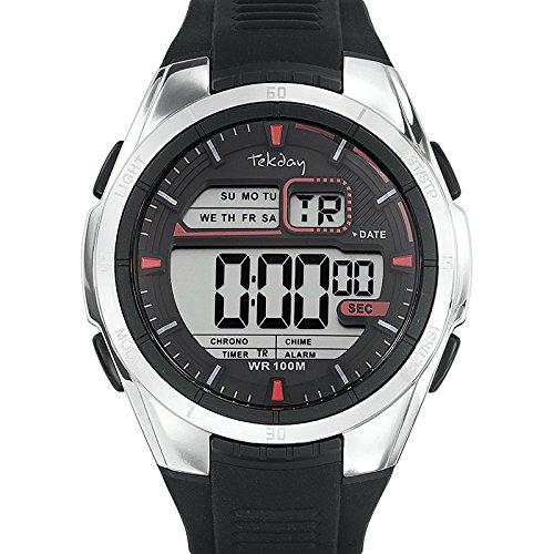 Tekday - 655894 - Reloj Hombre - Cuarzo Digital reloj negro - pulsera de silicona negro: Amazon.es: Relojes