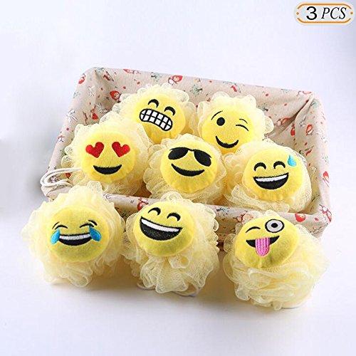 Hisight Bath Shower Sponge Emoji-Pop Smiley face Plush Pillow Universe Pouf Mesh Kids Toy Brush Shower Ball , Mesh Bath and Shower Sponge,cartoon expression bath flower bath ball (3 (Shower Loofah Halloween)