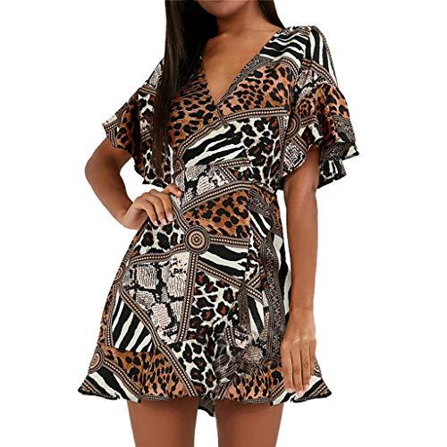 LIM&Shop Women Mini Dress  Sexy V-Neck Leopard Print Top Chiffon T-Shirt Skater Dress Casual A-line Skirt Ruffles Brown