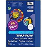 Pacon Tru-Ray Construction Paper, 9-Inches by 12-Inches, 50-Count, Royal Blue (103017)