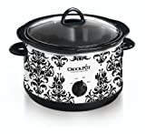 Crock Pot SCR450-PT 4-1/2-Quart Slow Cooker, Black Demask Pattern